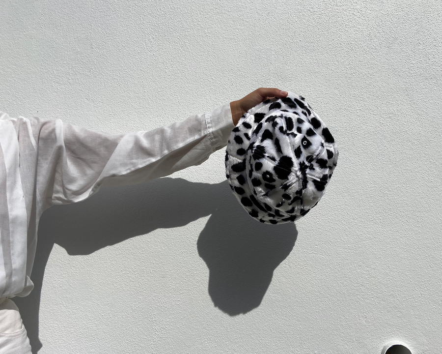 Dalmatian faux fur bucket hat