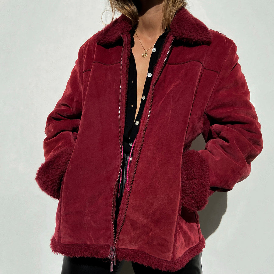 Vintage faux suede jacket in Maroon