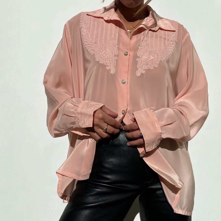 Vintage Soft pink 'Grandma' button up