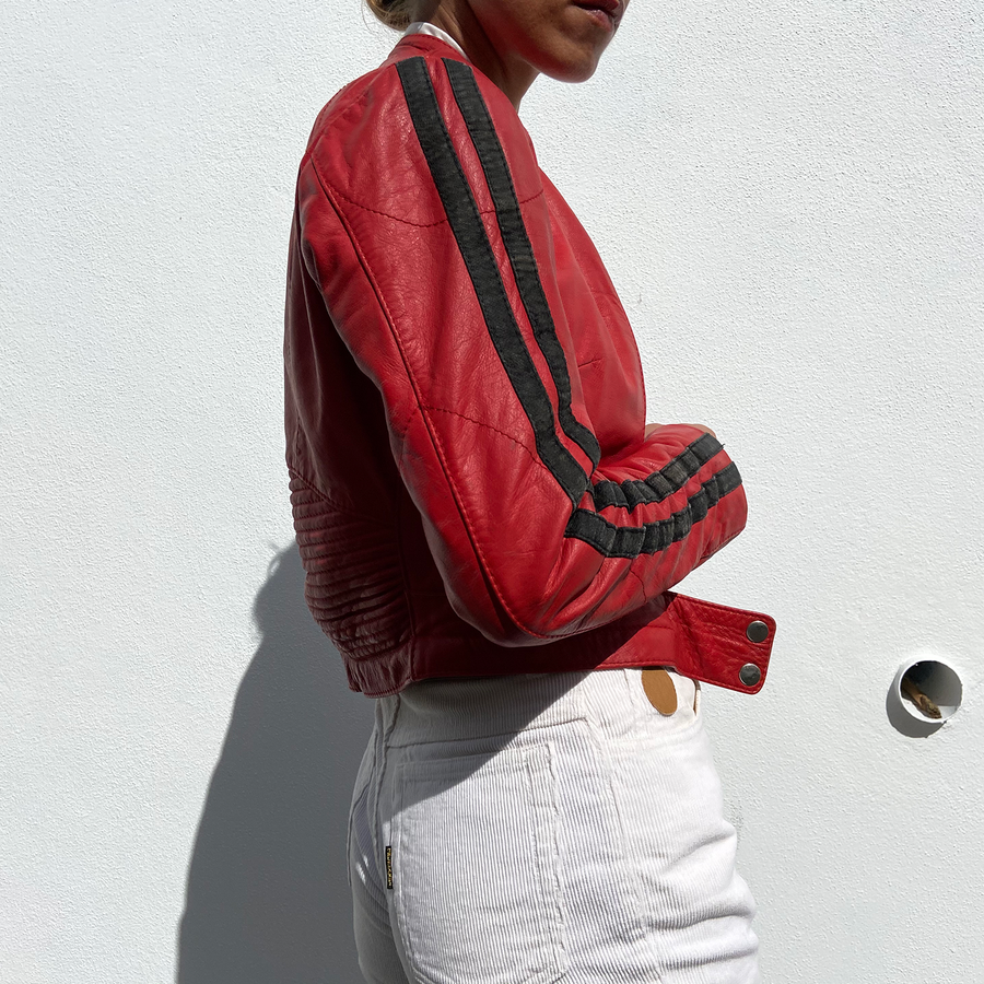 Vintage Chili Red and Black Moto Jacket