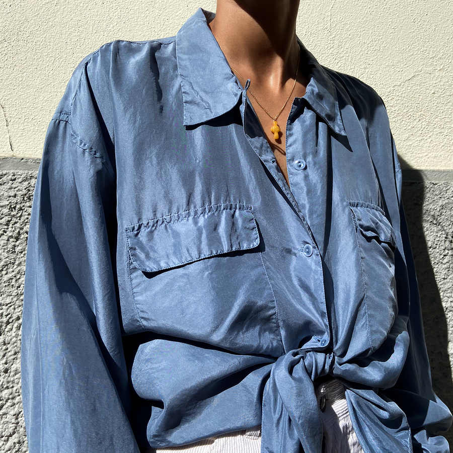 Vintage Ocean Washed Silk Blouse