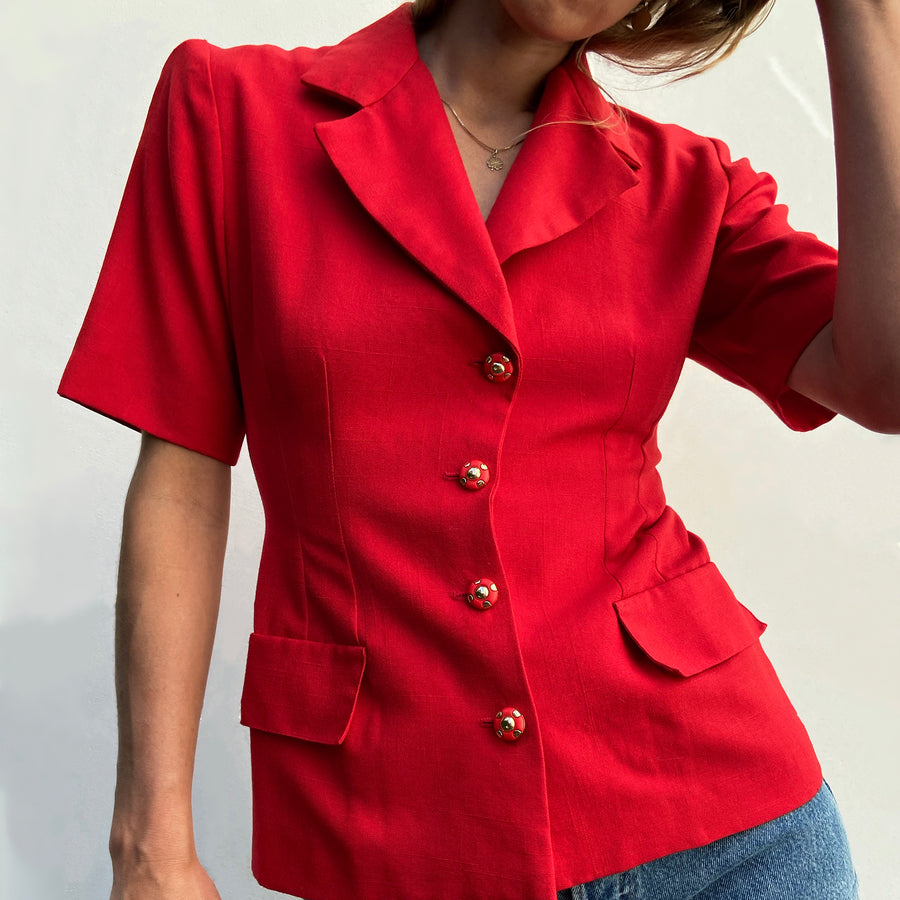 Vintage short sleeved red Blazer