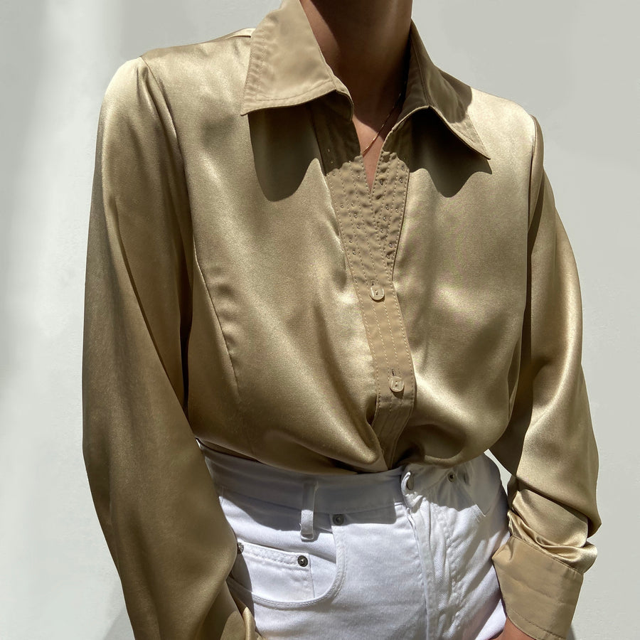 Vintage Shiny Gold button up