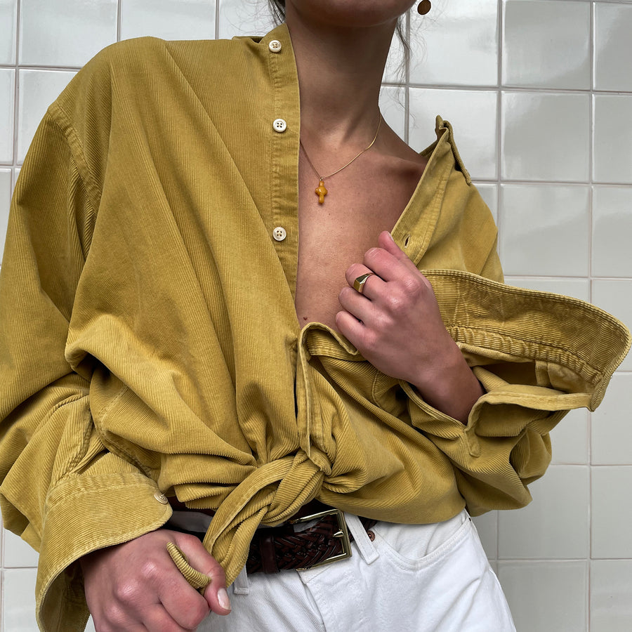 Vintage ribbed blouse in Mustard yellow