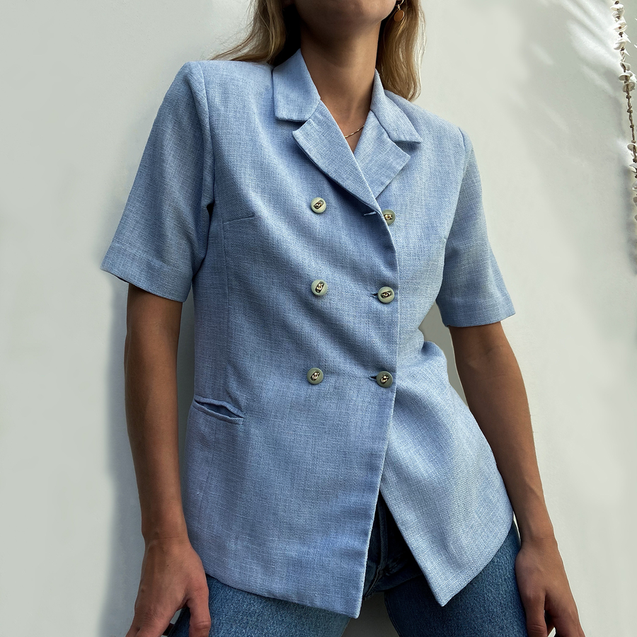 Vintage short sleeved Baby Blue Blazer