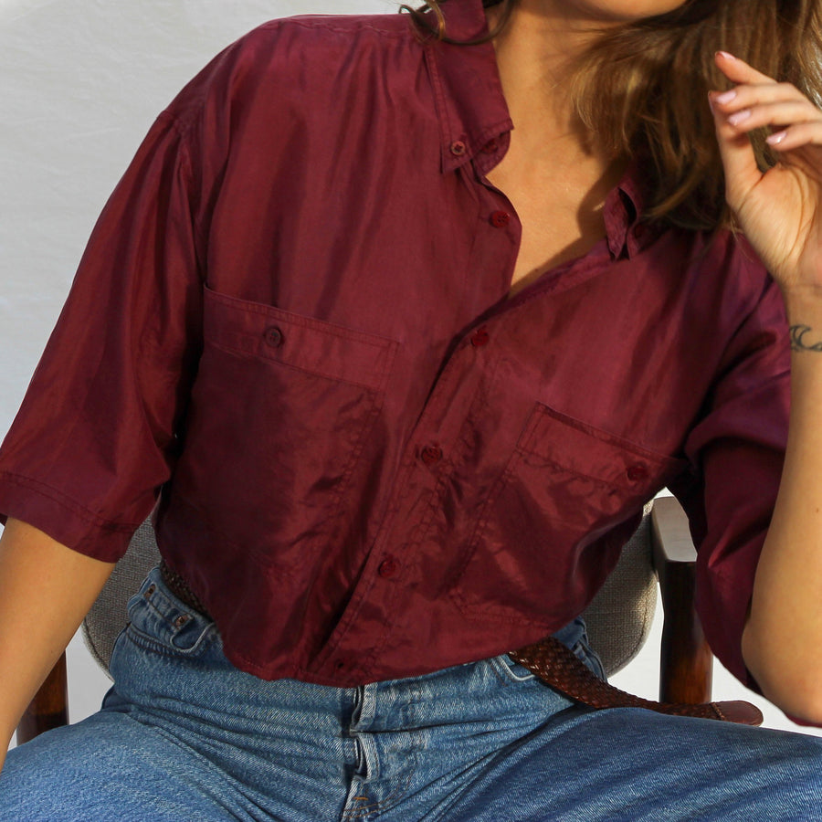 Vintage Remade Burgundy Silk button up