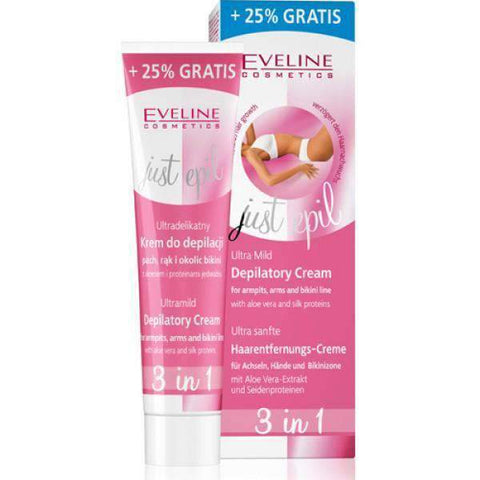 EVELINE -JUST EPIL 3IN1 ULTRA MILD FOR ARMPITS, ARMS & BIKINI LINE – 125ML – (SENSITIVE AREAS) - Shopnonstop