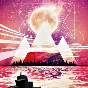 Painting of mountains and sacred geometry
