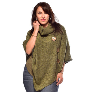 Buttoned Boucle Poncho