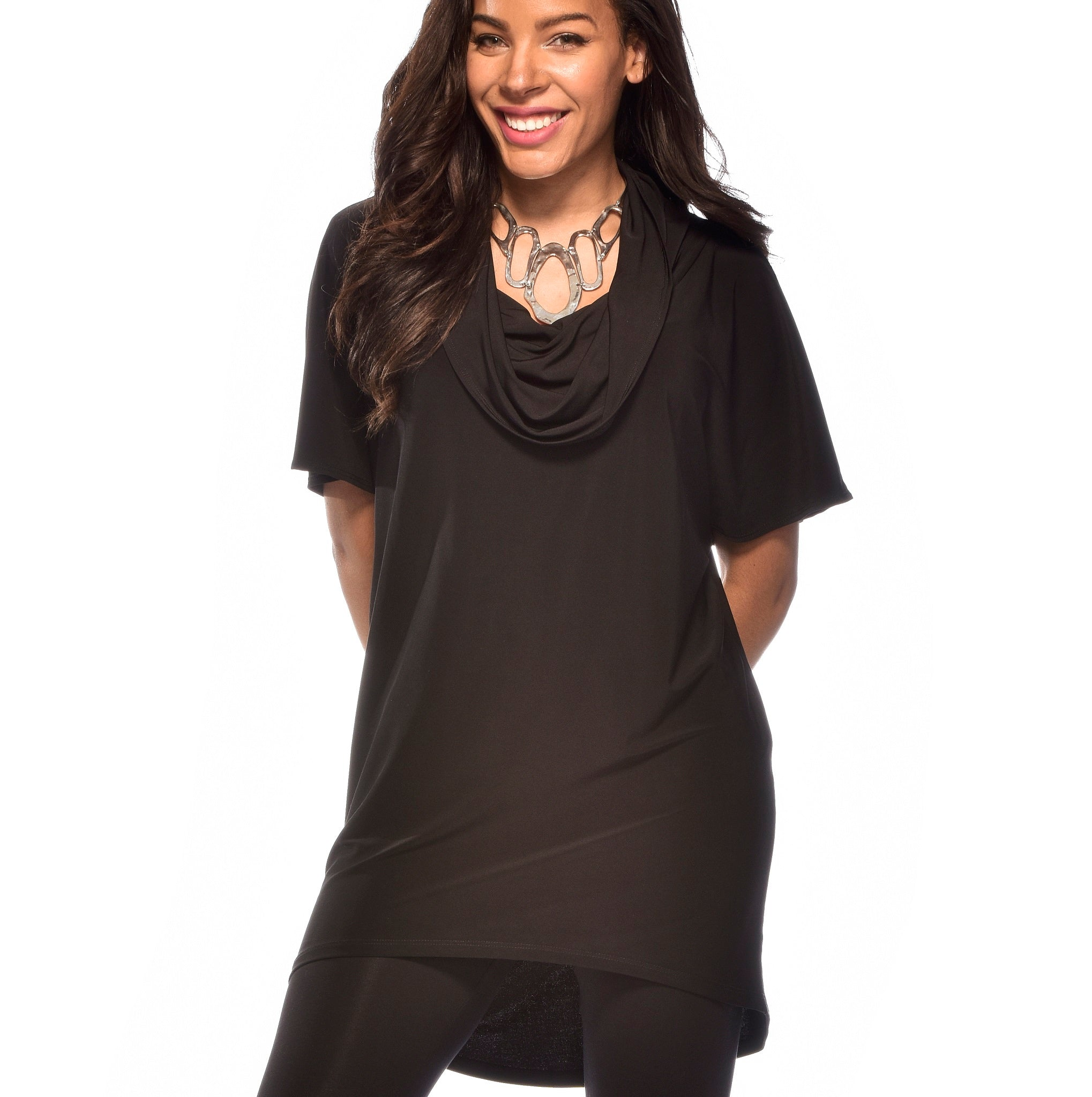 Short Sleeved Cowl Neck Tunic