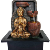 Buddha Water Feature with Brown Pots
