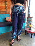 Coco Button Pants Navy Blue Paisley