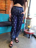 Coco Button Pants - Navy Block Print