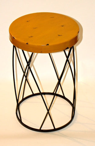 Sunny Yellow Metal Side Table