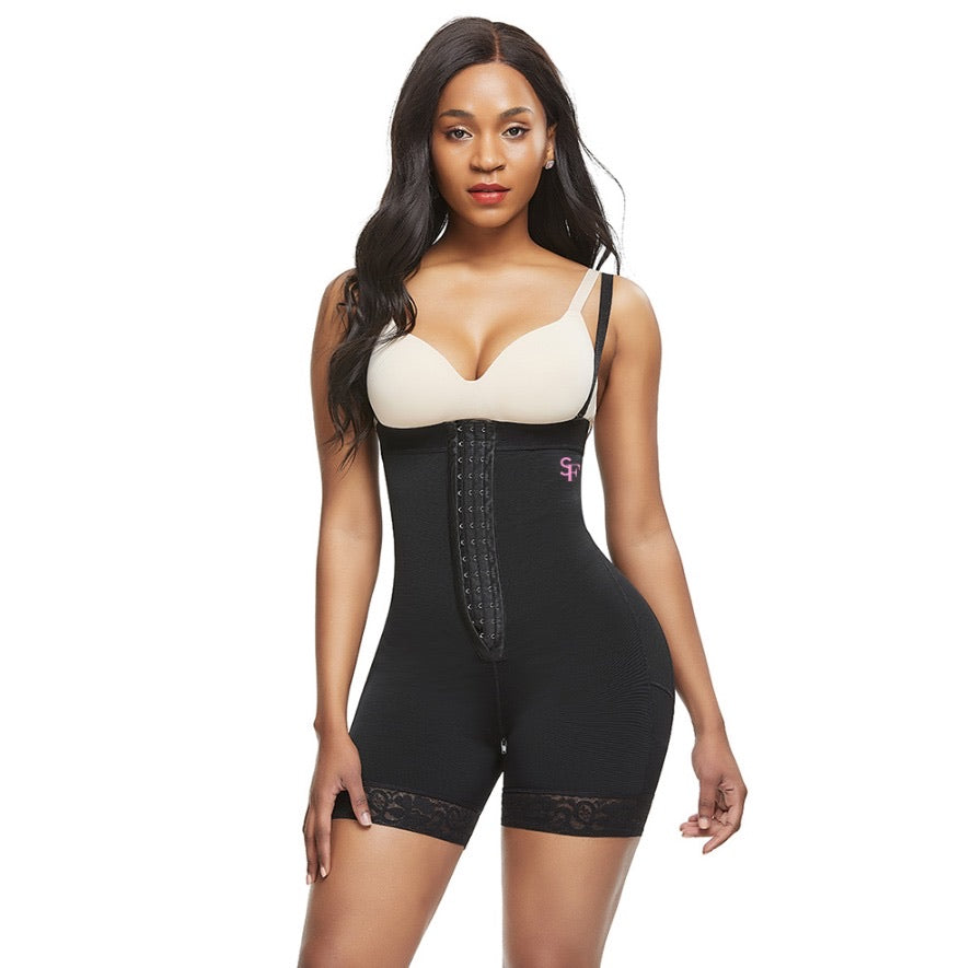 Black post-surgical compression bodysuit - SlimieeFit