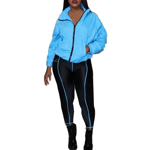 Berry blue and black leggings and jacket set - SlimieeFit