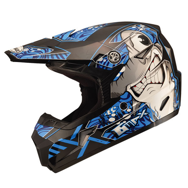 GMAX MX46 Youth Sharked MX Helmet Blue by Alpine Powersports