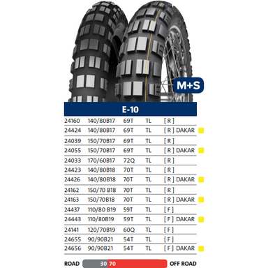 Mitas E-10 Dakar Front Tire - 70% Off-Road 30% On-Road