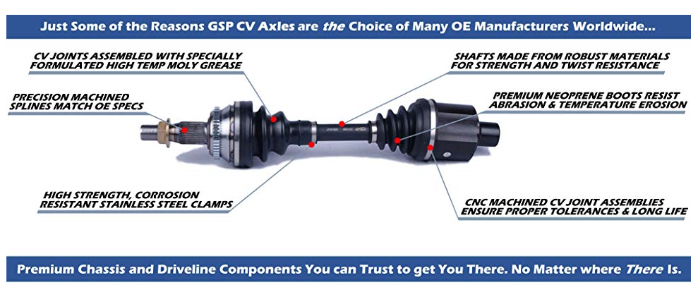GSP HD Complete CV Axle - Yamaha Grizzly 660 Rear