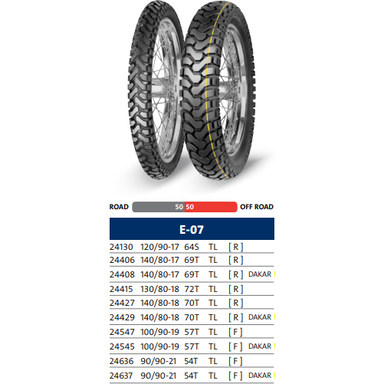 Mitas E-07 Dakar & Standard Rear Tire - 50% Off-Road 50% On-Road