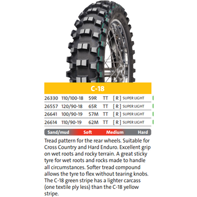 Mitas C-18 Super Light (Green Stripe) Off-Road Motorcycle Tire