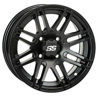 "ITP SS316 Black OPS 12X7"" Wheel (Rim) - 4/137 - 5+2 Offset by Alpine Powersports"