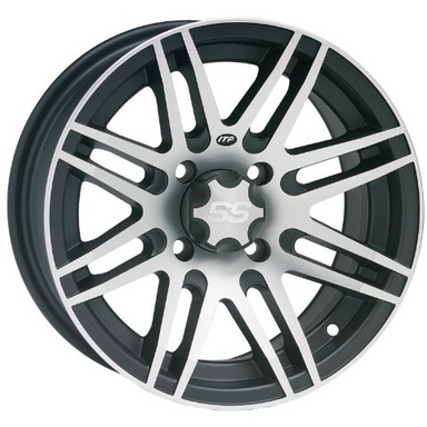 "ITP SS316 Black & Machined 14x7"" Wheel (Rim)  - 4/115 - (5+2 Offset for IRS) For Arctic Cat by Alpine Powersports"