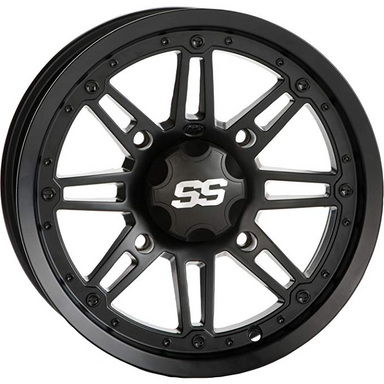 "ITP SS216 Black OPS 12X7"" Wheel (Rim) - 4/137 - 5+2 Offset"