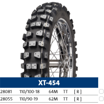 Mitas XT-454 Rear Studded Winter Friction Motorcycle Tire (297 & 341 Studs)