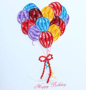 Finished Paper Quilling Art Birthday Card BQ90831