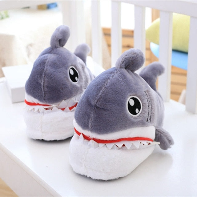 1 pair Cute Plush Animals Toys Shark Shaped Shoes winter shoes domestic shoes for Women and Men Creative Birthday Gifts