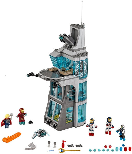 7114 511Pcs Avenger Marvel Super Heroes IronMan Attack On Avenger Tower Brick Model Building Block Copmatible Legoing City 76038