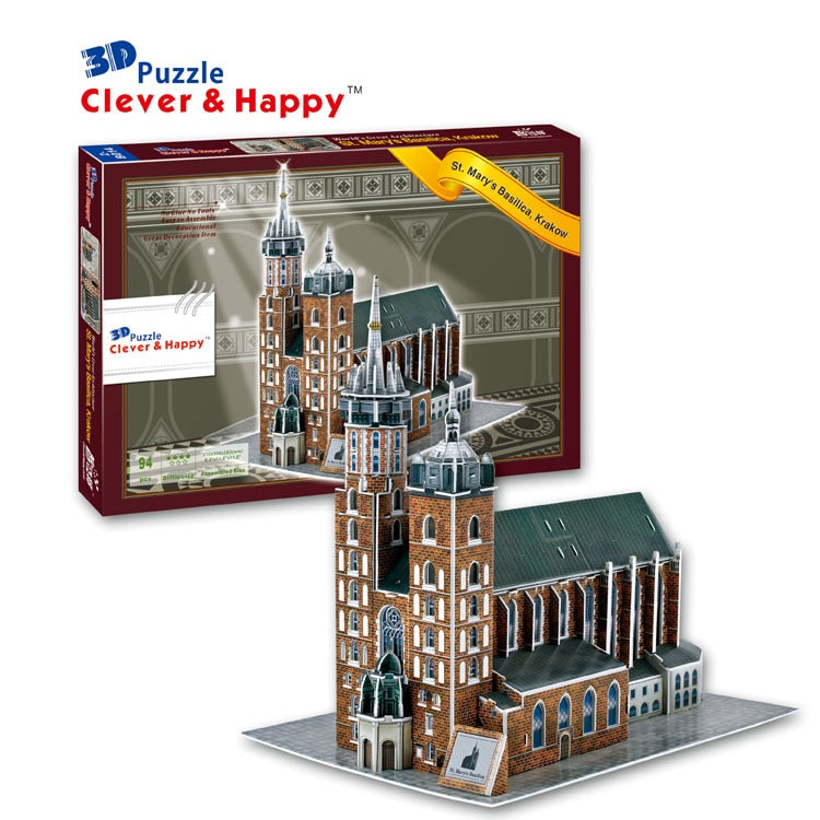 Candice guo 3D paper puzzle assemble model toy St. Mary's basilica Krakow church building birthday gift christmas present 1pc