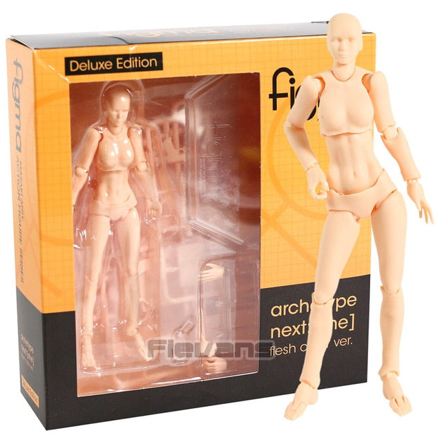 Figma Archetype Next He / She Flesh Gray Color Ver. Deluxe Edition PVC Action Figure Collectible Model Toy