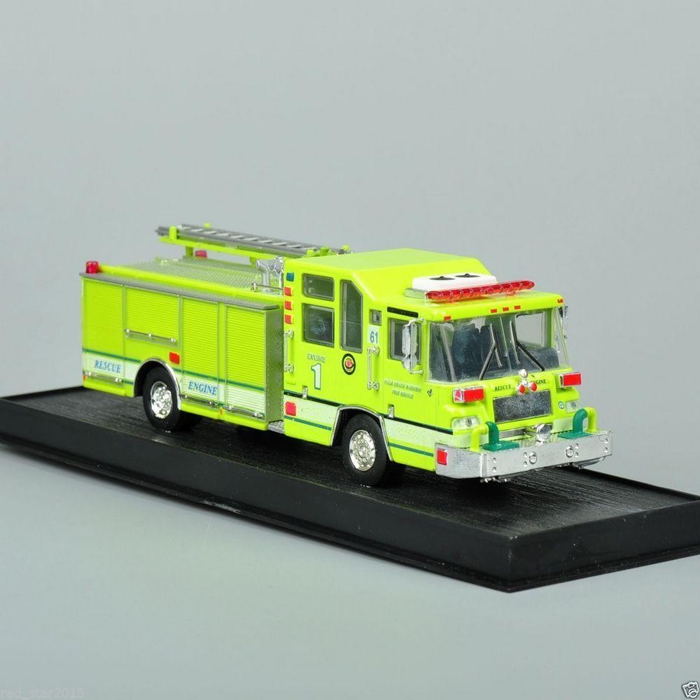 New 1:64 Scale Alloy Diecast Fire Truck 1997 Pierce Quantum Pumper USA Cars Truck Model Yellow Color Collection Gifts For Kids B