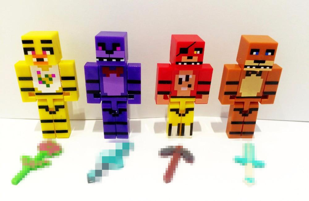 Hot!!! New 4pcs/set Minecraft Five Nights At Freddy's 4 FNAF Foxy Chica Bonnie Freddy Action Figures Kid Toy Christmas Gifts