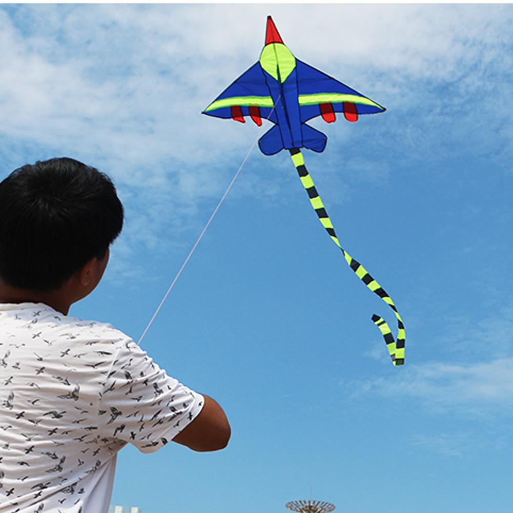 Outdoor Sports Airplane Aircraft Kite With Handle and 100m Line Easy Control Flying For Children Toy without Lines