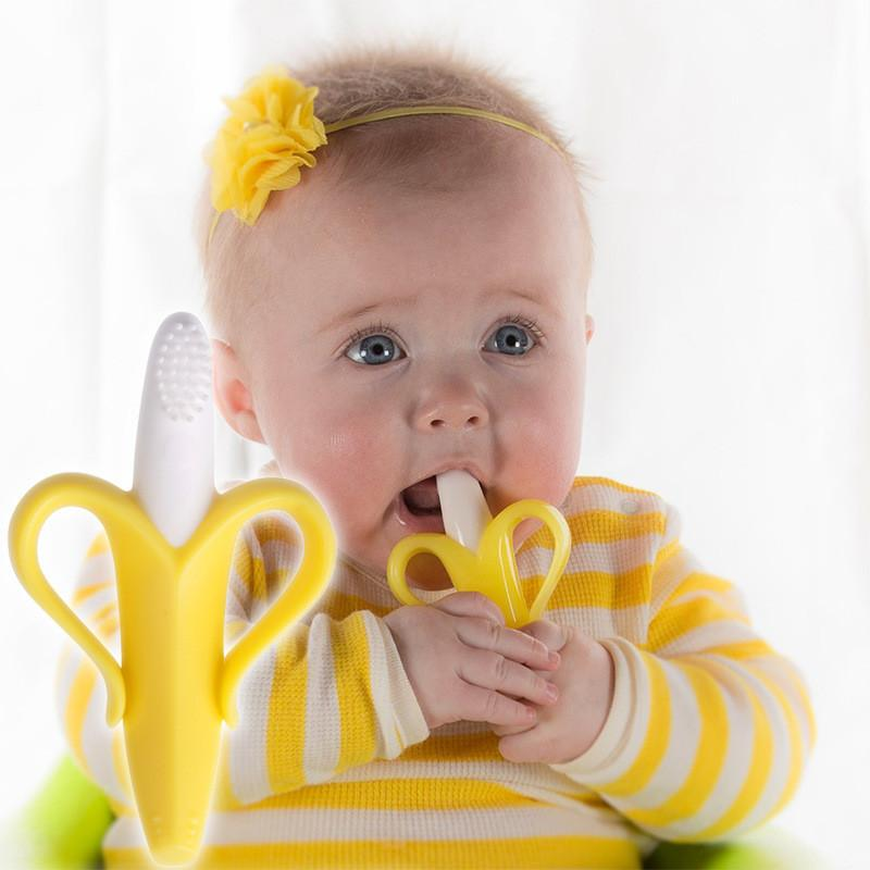 0-12 Months Baby Toys Silicone Banana Infant Teether Toys Toothbrush High Quality and Environmentally Safe Teething Ring