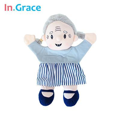 In.Grace brand lifelike grandpa grandma couple glove puppets for toddler early learning high quality muppet puppets for baby diy