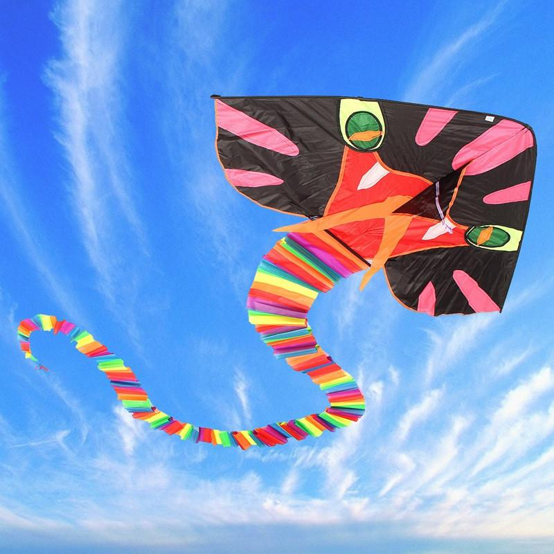 New Large 8M Cyan Snake Kite Easy To Fly Children's Toys Outdoor Fun Sports Gift Good Flying Toy Sets For Children Adult