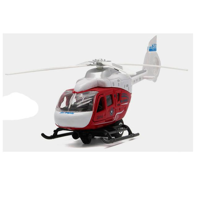Propeller will Spin's Police Command Helicopter Diecast Metal Model Pull Back Acousto-optic Alloy Airplane Boy's Whirlybird Toys