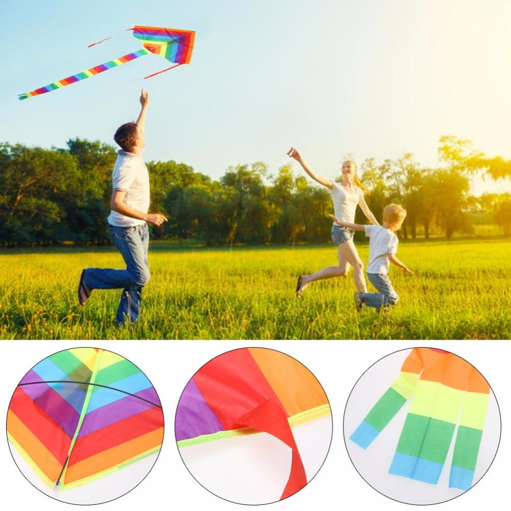 Newest 1Pcs Rainbow Kite Without Flying Tools Outdoor Fun Sports Kite Factory Children Triangle Color High Quality Kite Easy Fly