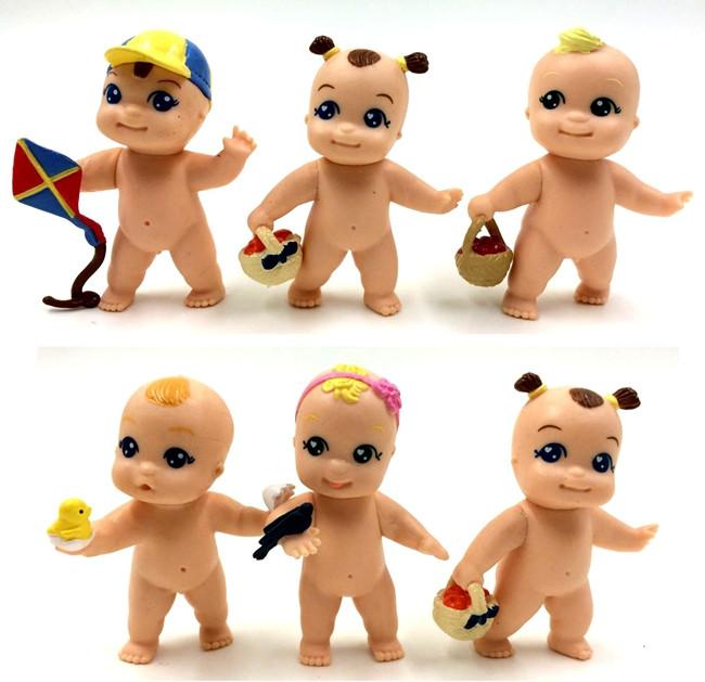 6pcs/lot 5cm Kawaii cute baby BB action figure collectible model toys for baby girls