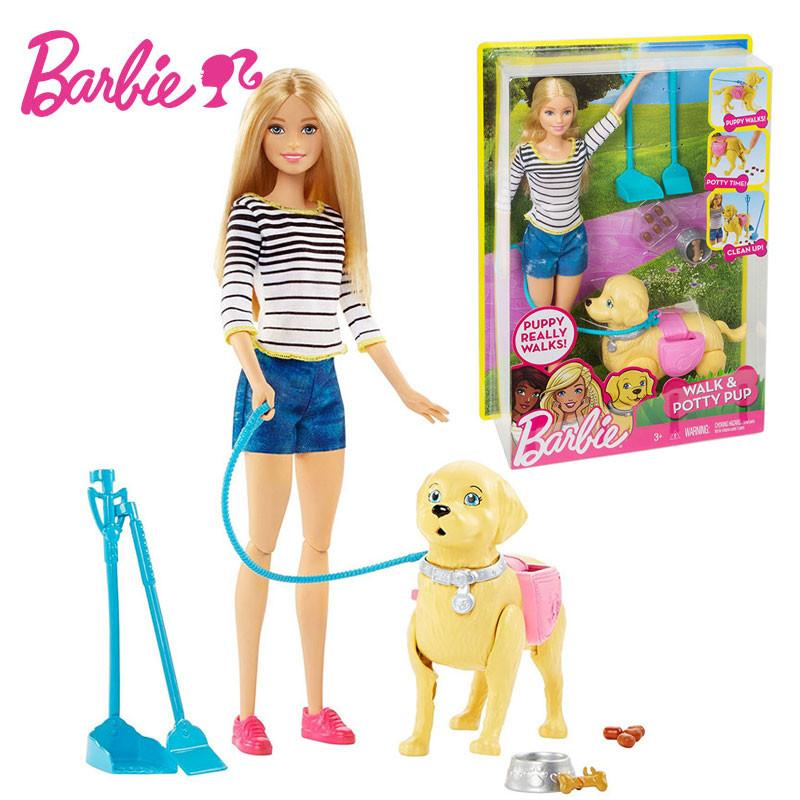 Barbie Doll Learn Care For Animals Series Barbie Girl Gift Box Toy Will Walk Pet Greedy Dog DWJ68 Walk & Potty PUP