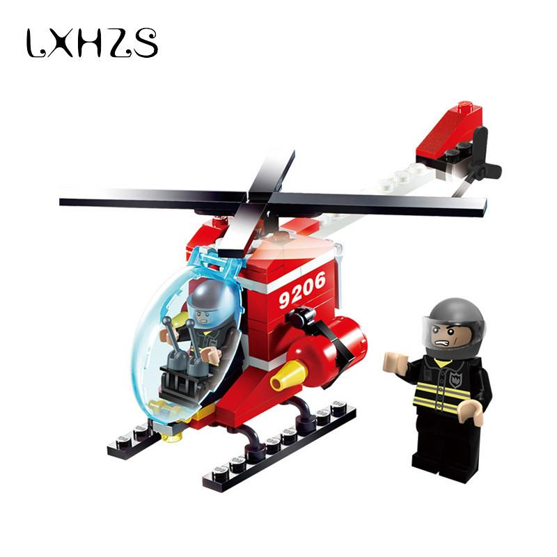 Police Fire Helicopter Airplane Small Particles Building Blocks Bricks Model Kits Childrens Kids Toys Game Diecasts Vehicles Toy