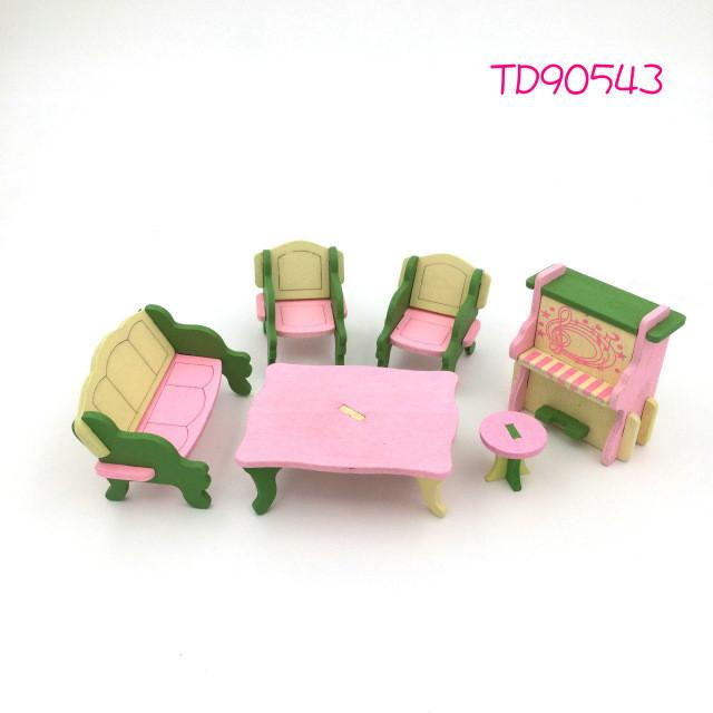 Wooden Doll Kitchen Set Furniture Dollhouse Miniature For Kids Child  pretend play Toy Educational Toy Wooden Toy Baby Toys Gift