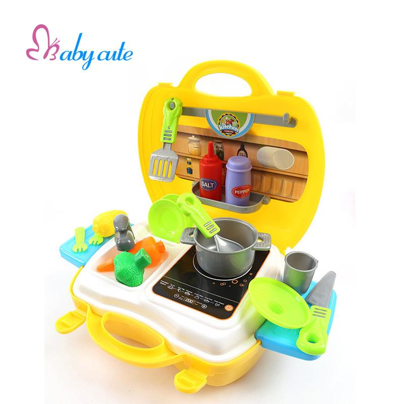 Kids Kitchen Toys Set Mini Pretend Play Cooking Kit Plastic Play Food Pan  Simalation Cooker Baby Classic Game Best Gift For Baby