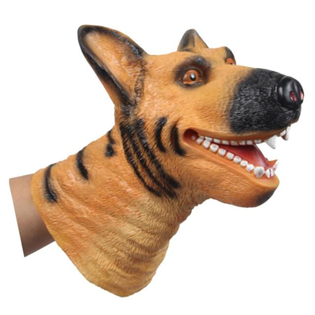 Quality Soft Vinyl PVC Animal Head Figure Dinosaur Tiger Lion Cow & Dog Hand Puppet Gloves Children Toy Model Gift