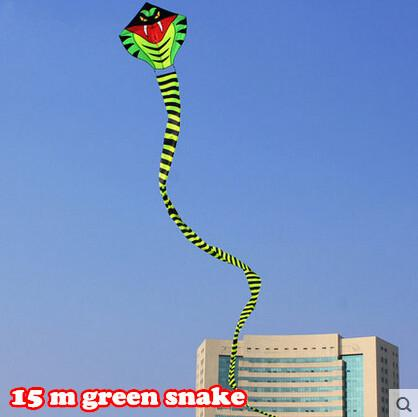 New High Quality Outdoor Fun Sports 15 m Green  Long Snake Kites/Power Cobra Kite With Handle Line Good Flying As Gift Or Toy