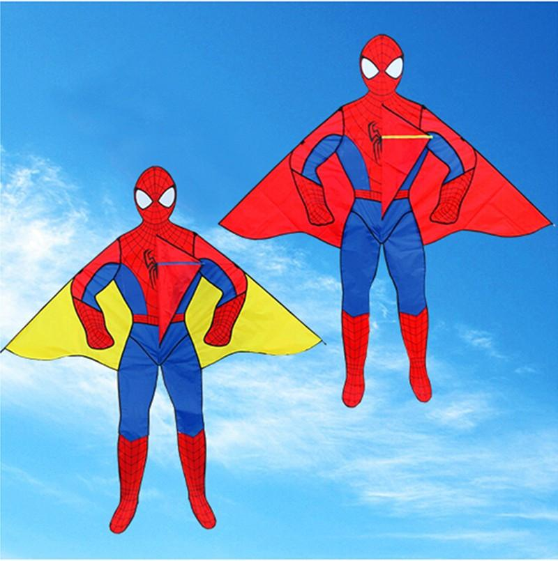 free shipping high quality 2m spiderman kites with handle line outdoor toys cartoon kite child kite flying octopus wheel weifang